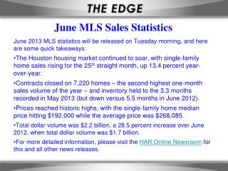June MLS Sales Statistics