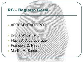 RG � Registro Geral