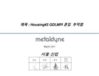 제목  : Housing#3 GDI,MPI  혼입  부적합