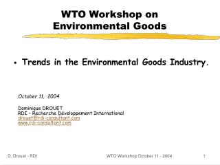 WTO Workshop on  Environmental Goods
