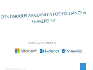 CONTINUOUS AVAILABILITY FOR EXCHANGE & SHAREPOINT