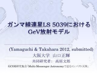 ガンマ線連星 LS 5039 における GeV 放射モデル