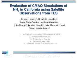 Evaluation of CMAQ Simulations of NH 3  in California using Satellite Observations from TES