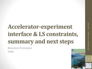 Accelerator-experiment interface & LS constraints, summary and next steps