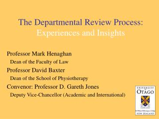 The Departmental Review Process: Experiences and Insights