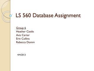 LS 560 Database Assignment