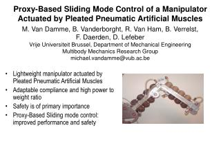 Proxy-Based Sliding Mode Control of a Manipulator Actuated by Pleated Pneumatic Artificial Muscles