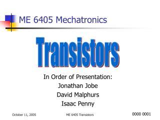 ME 6405 Mechatronics