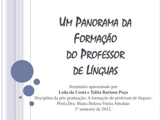 Um Panorama  da Forma��o do Professor  de  L�nguas