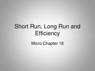 Short Run, Long Run and Efficiency