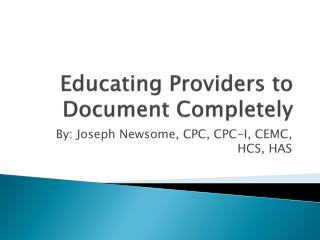 Educating Providers to Document Completely
