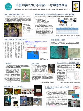 京都大学における 宇宙 ×○○ な 学際的 研究