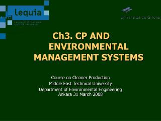 Ch3. CP AND ENVIRONMENTAL  MANAGEMENT SYSTEMS