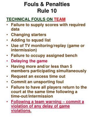 Fouls & Penalties Rule 10
