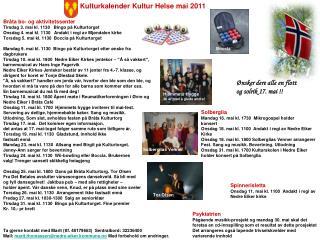 Kulturkalender Kultur Helse mai 2011