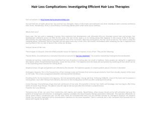 Hair Loss Complications: Investigating Efficient Hair Loss T