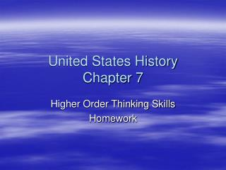 United States History  Chapter 7