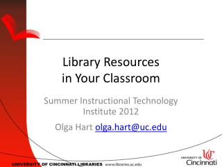 Library Resources in Your Classroom