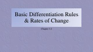 Basic Differentiation Rules & Rates of Change