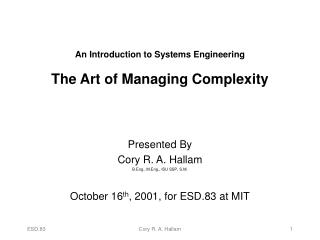 An Introduction to Systems Engineering  The Art of Managing Complexity