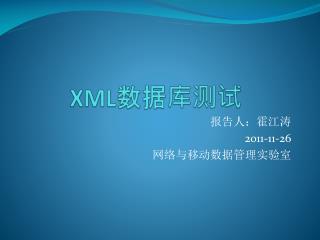 XML 数据库测试