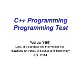 C++ Programming Programming Test