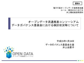 平成 25 年 1 月 24 日 データガバナンス委員会主査井上由里子