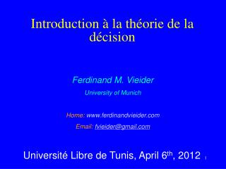 Introduction   la th orie de la d cision