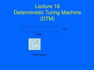 Lecture 16 Deterministic Turing Machine DTM
