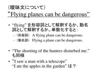 """(曖昧文について) """" Flying planes can be dangerous"""""""