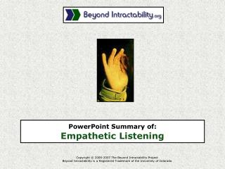 PowerPoint Summary of:  Empathetic Listening