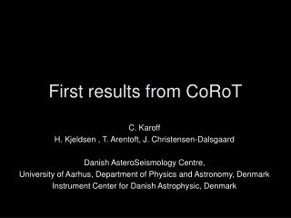 First results from CoRoT