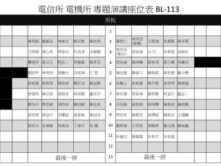 電信所 電機所 專題演講座位表  BL-113