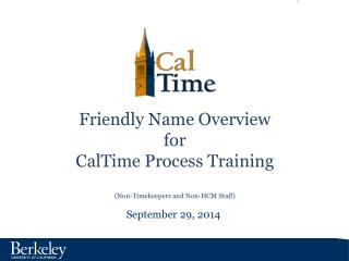 Friendly Name Overview for CalTime  Process Training (Non-Timekeepers and Non-HCM Staff)