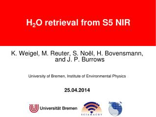 H 2 O retrieval from S5 NIR