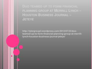 Wordpress duo teamed up to form financial planning group