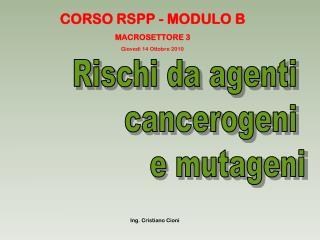 CORSO RSPP - MODULO B MACROSETTORE 3