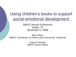 Using children s books to support social-emotional development