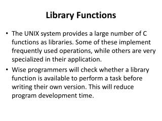 Library Functions