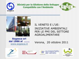 IL VENETO E L'UE: INIZIATIVE AMBIENTALI PER LE  PMI DEL  SETTORE  AGROALIMENTARE
