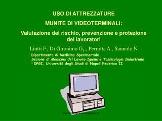 USO DI ATTREZZATURE MUNITE DI VIDEOTERMINALI: