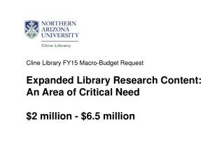 Cline Library FY15 Macro-Budget Request