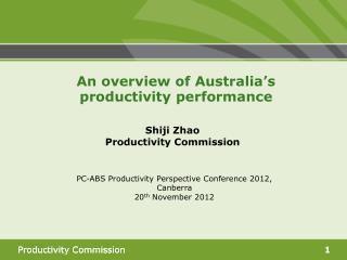 Shiji Zhao Productivity Commission