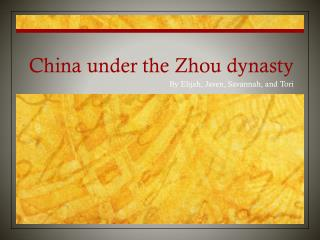 China under the Zhou dynasty