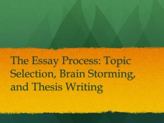 The Essay Process: Topic Selection, Brain Storming, and Thesis Writing
