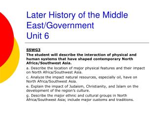 Later History of the Middle East/Government Unit 6