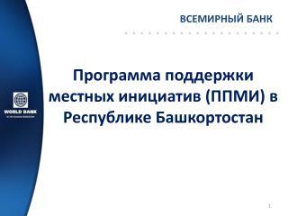 Программа поддержки местных инициатив (ППМИ) в Республике Башкортостан