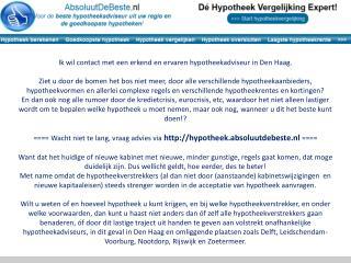 Ik wil contact met een erkend en ervaren hypotheekadviseur in Den Haag.