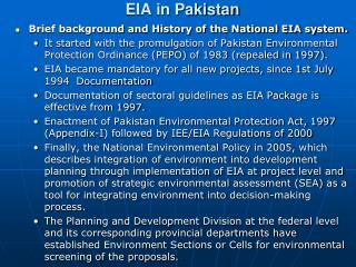 EIA in Pakistan