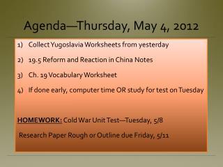 Agenda�Thursday, May 4, 2012
